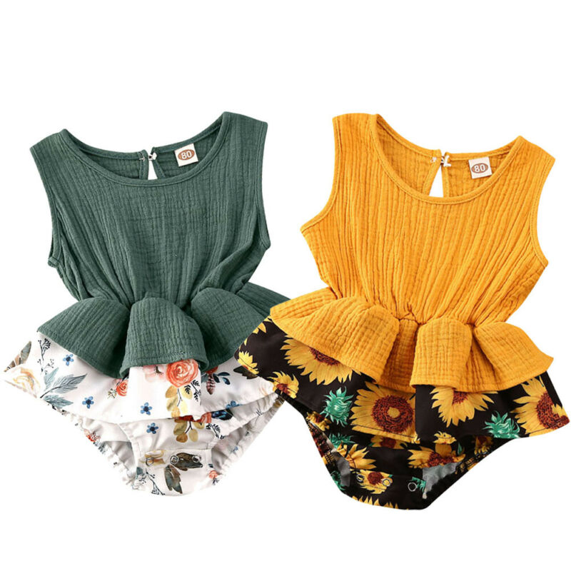 New Born Clothes Infant Baby Girl Sleeveless Bodysuit Ruffle Flower Printed Bodysuits