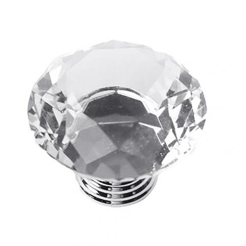5 шт., 30 Вт, 40 мм с украшением в виде кристаллов Стекло ручки шкаф для кухонных шкафов, выдвижной ящик для шкафа ручки Diamond Форма дизайн с украшением в виде кристаллов Стекло ручки шкафа - Цвет: Transparent 40mm