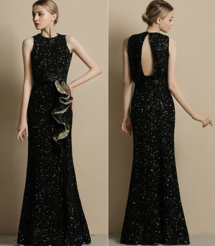 Black BLING Sequin Beads REAL PHOTO Women Evening Dress Factory Price Good Quality Cheap Price
