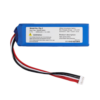 Replacement 3000MAh Li-Polymer Battery 3.7V GSP872693 Rechargeable for JBL Flip 3 цена 2017