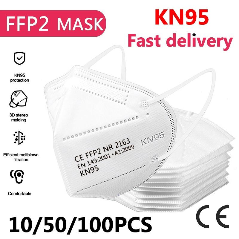 KN95 Respirator Face-Mask Ce-Covers Mascarillas Ffp2 Mouth Health Reusable 10/50/100pcs