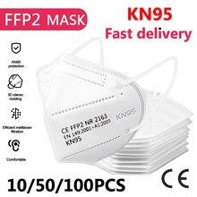 Masque facial KN95, protection buccale, respirateur ffp2, réutilisable, lot de 10/50/100 pièces