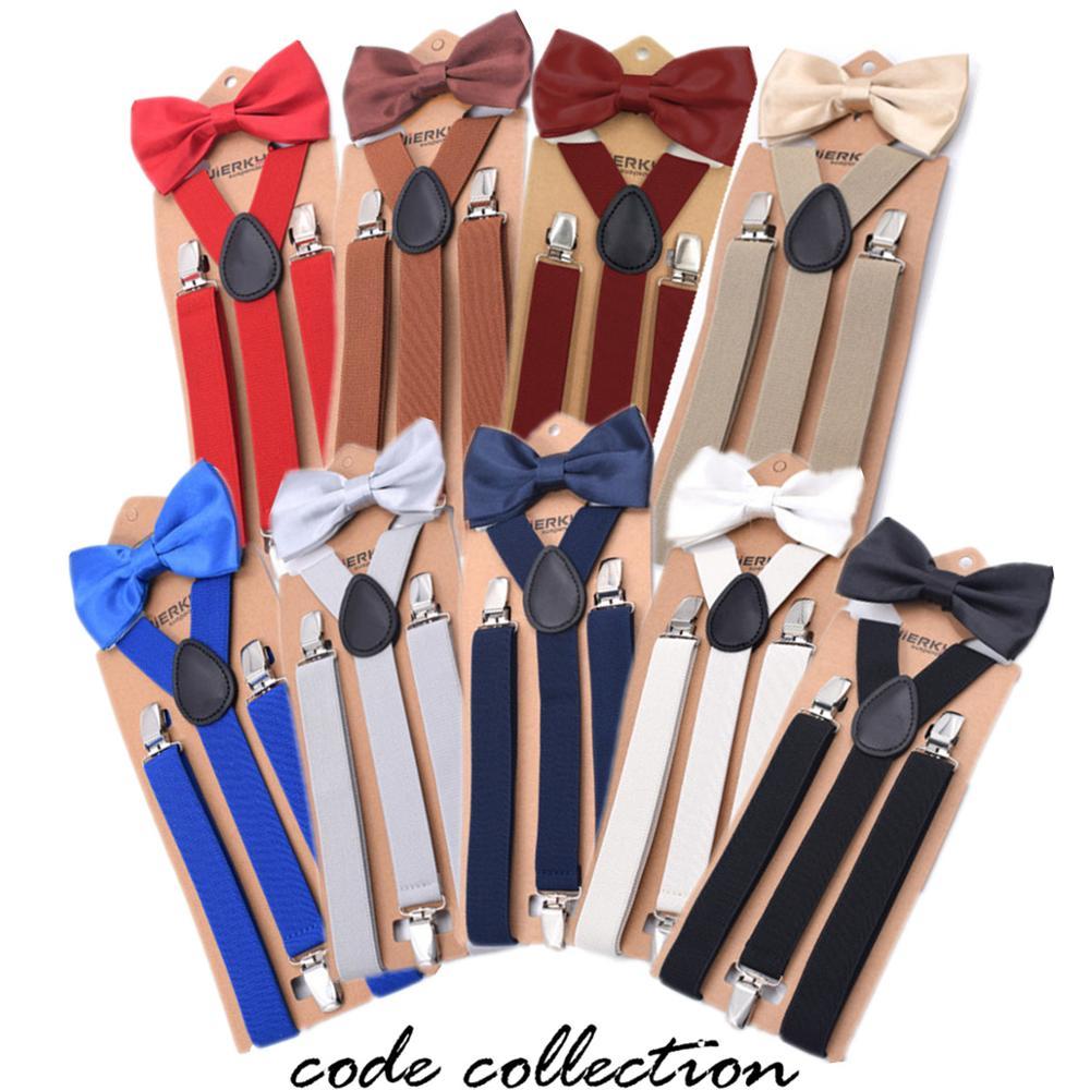 14 Colors Suspenders Bow Tie Set Vintage Men Suspender Belt Fashion Casual Shirt Stay Braces 2.5 CM Wide Gentlemen Shirt Belt