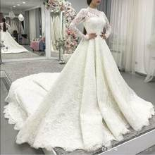 Long Sleeveless Muslim Wedding Dress 2019 with hijab Lace Appliqued Midwest Applique Sweep Train Bridal Gowns Vestido De Novia(China)