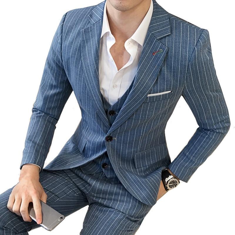 British Style Striped Slim Men's Business Suit Three-piece High-end Plus Size Fashion Men Blazer (coat + Vest + Pants) M-5XL
