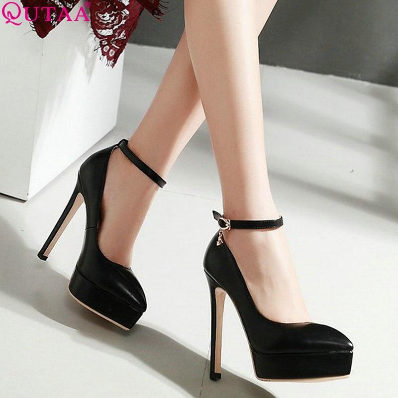 QUTAA 2020 femmes pompes en cuir Pu femmes chaussures bout pointu Super mince talon haut plate-forme Sexy dames pompes de mariage taille 34-43