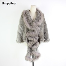 Harppihop fur 2019  Free shipping Brand New natural rabbit jacket with real raccoon collar coat in stock