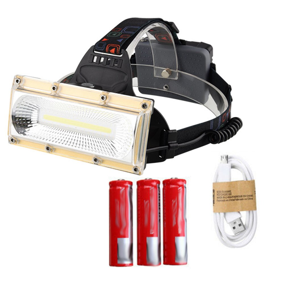 30W LED COB Strong Light Rechargeable 18650 Headlamp Headlight Fishing Flashlight For Outdoor Activity Golden Helmet Type