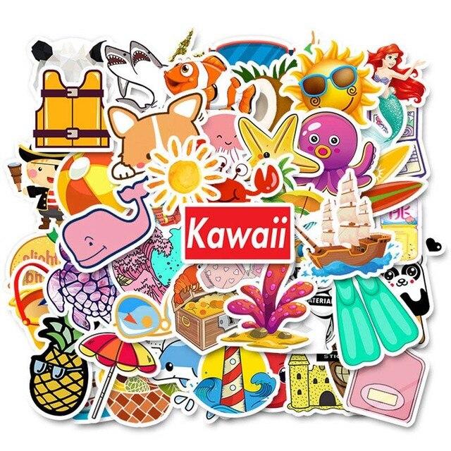 50 adet serin yaz Vsco çıkartmalar paketi pembe kız Anime sticker çocuklar için dizüstü bilgisayar buzdolabı telefon kaykay bavul etiket