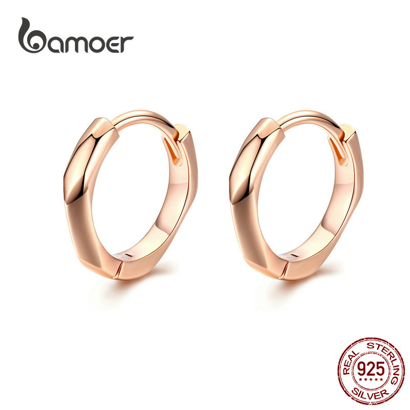 BAMOER Tiny Hoop Earrings For Women Rose Golden 925 Sterling Silver Geometric Simple Ear Hoops Minimalist Fine Jewelry BSE119