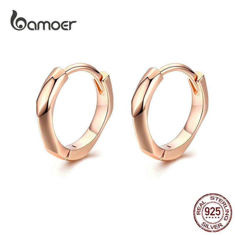 BAMOER Tiny Hoop Earrings For Women Rose Golden 925 Sterling Silver Geometric Simple Ear Hoops Minimalist Fine Jewelry BSE119