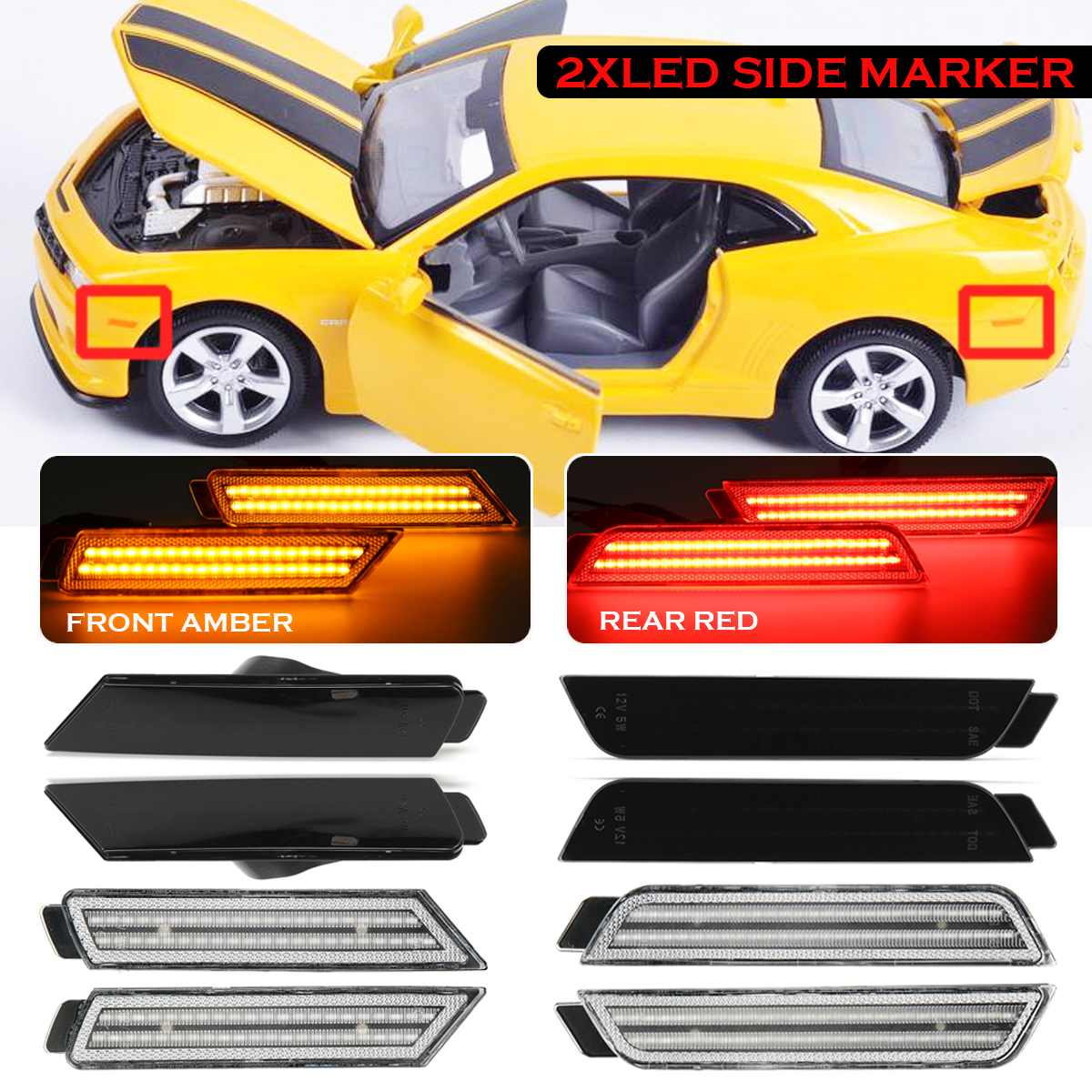 For Camaro Challenger Mustang Style RGB Multi-Color LED Angel Eye Halo Rings 2x
