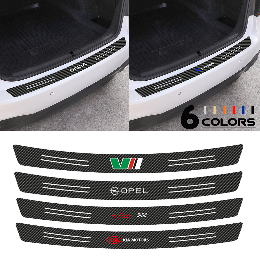 Car-Styling Tail Trunk Rear Bumper Protection Carbon Fiber Sticker for Citroen Ford Renault Dodge Jeep AMG Nissan Honda Mercedes