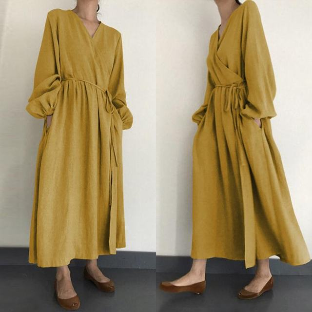 2021 Autumn Solid Sundress ZANZEA Casual V Neck Cotton Linen Dress Women Long Sleeve Maxi Long Vestido Female Kaftan Robe Belted 1