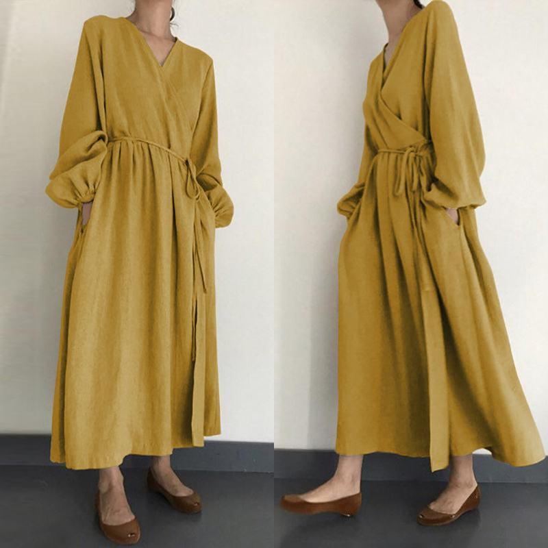 Женское льняное платье-макси Kaftan, летнее Повседневное платье с рукавами-фонариками и v-образным вырезом, цельное платье с поясом