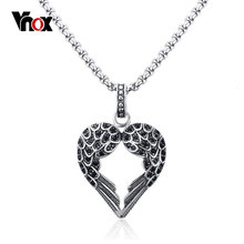 Vnox Heart and Wings Necklace Men Vintage Gothic Feather Angel Wing Pendant Necklace Kettingen Kolye Jewelry(China)