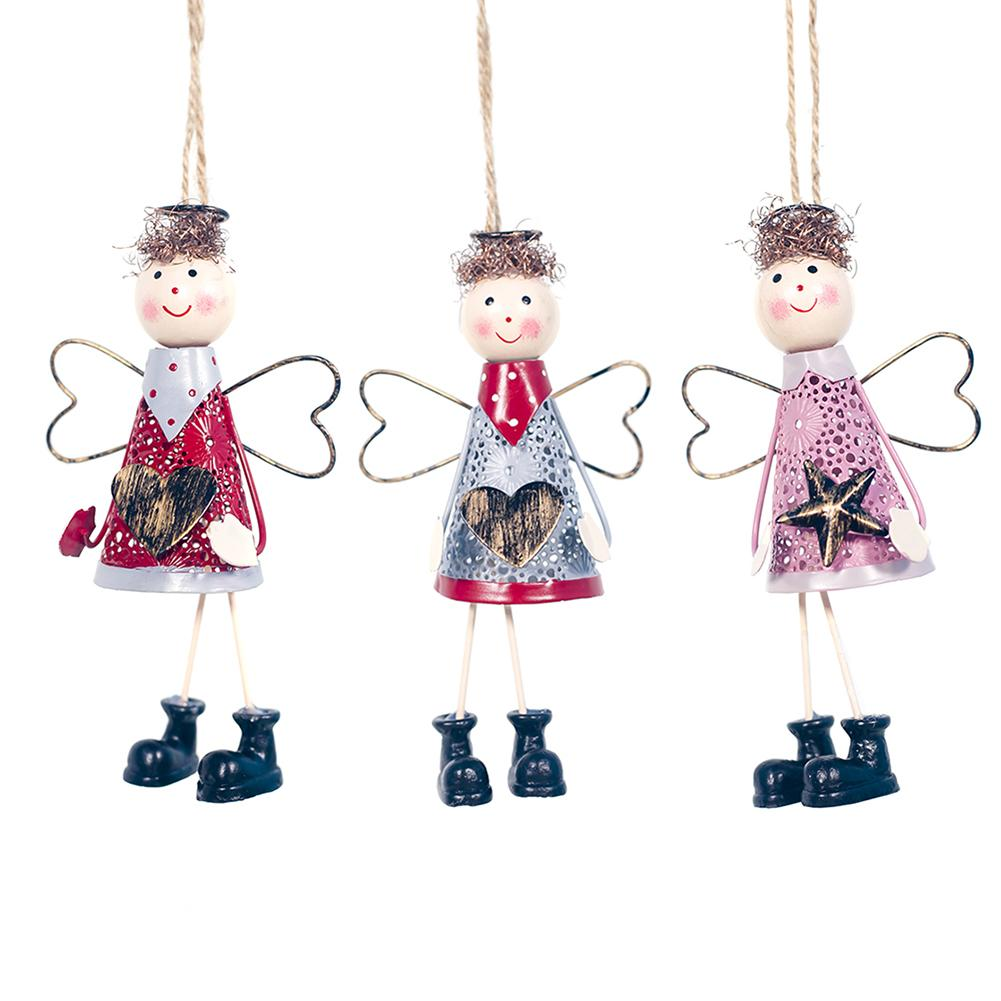 Iron Angel Pendant Christmas Tree Hanging Ornaments For Christmas Party Home Decoration Plush Angel Pendant in Pendant Drop Ornaments from Home Garden