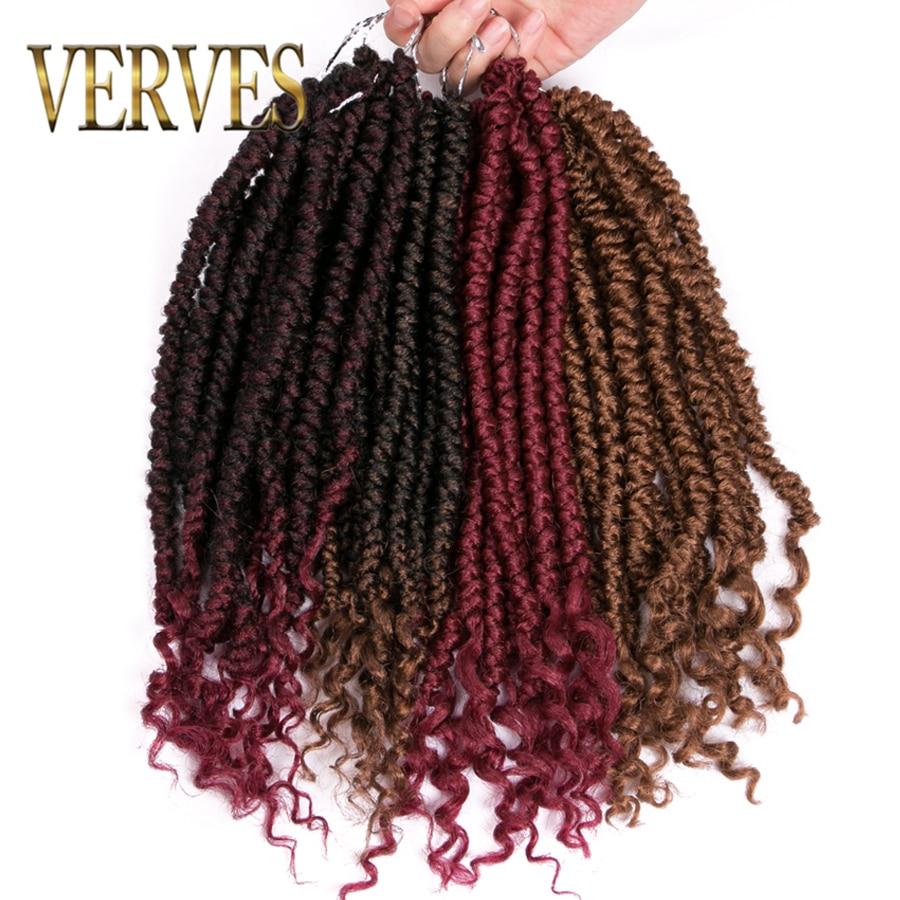 VERVES Braiding Ombre Faux Locs Curly 14 inch 12 roots/pack Crochet Braids Dread Locs hair Extensions Twist Black Bug,Braiding