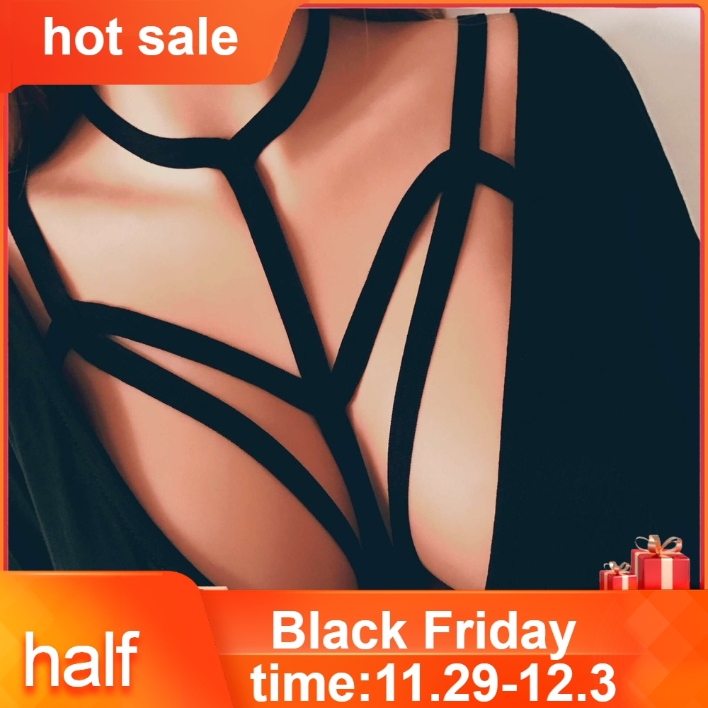 Alluring Women Harness Bra Elastic Cage Bra Strappy Hollow Out Bra Bustier Sexy solid Women's Intimates #ZH