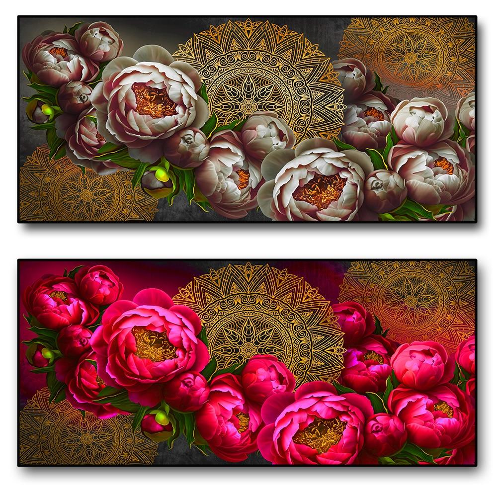 Винтажный узор, Художественная Картина на холсте, Золотая Мандала и красная роза, узорчатый настенный плакат в качестве украшения гостиной