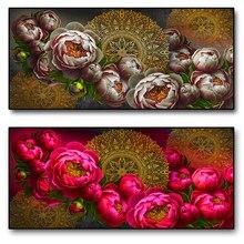 Padrão do vintage arte da pintura em tela mandala dourada e rosa vermelha flor coexistente parede arte cartaz como uma sala de estar decoração
