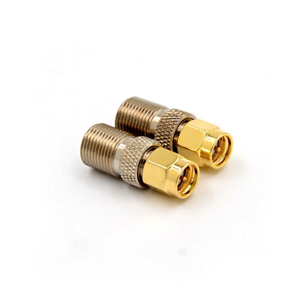 1PCS F Type Female Jack To SMA Male Plug Straight RF Coaxial Adapter F Connector To SMA Convertor Gold Tone