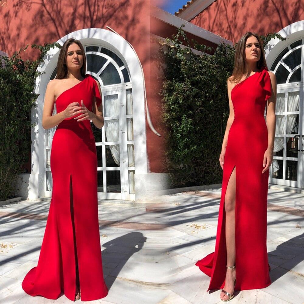 Women Sexy One Shoulder Red Dress Sexy Sleeveless Ruffles High Split Club Dress Celebrity Evening Maxi Elegant Party Dresses