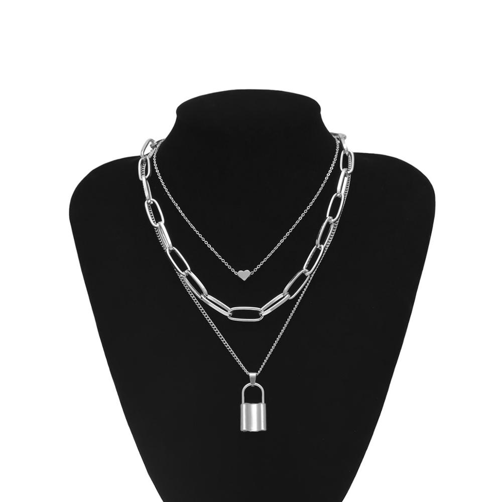 Hip Hop Multi Layers chain necklace with heart lock women/men punk rock padlock pendant necklace emo grunge Goth jewelry