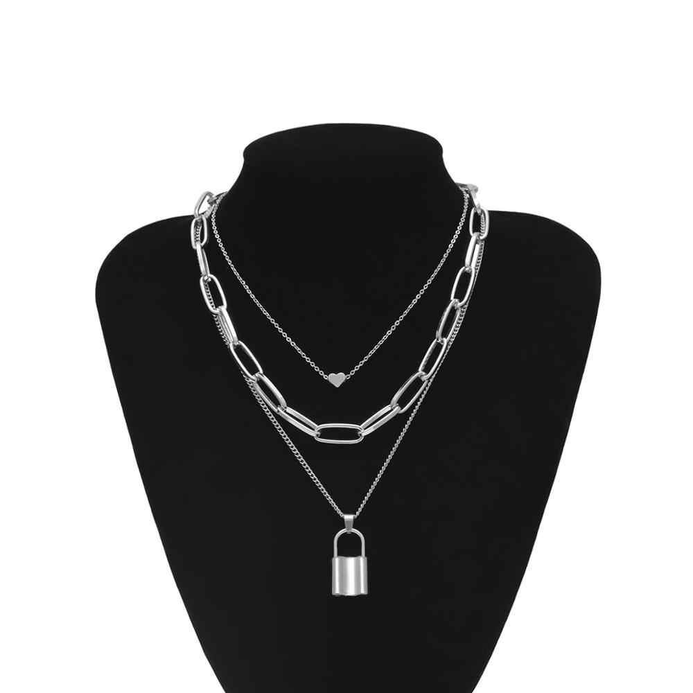 Hip Hop Multi Strati della collana della catena con la serratura del cuore delle donne/uomini punk rock lucchetto pendente della collana emo grunge Goth gioielli