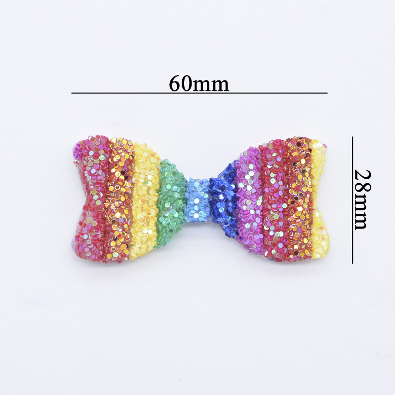 6Pcs 60mm Colorful Bow Tie BB Clips Cover Appliques Bowknot Hirpin Children Kid Bobby pin Hairgrip Patch Crafts Headdress Supply