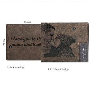 Image 3 - Zdjęcie na zamówienie portfel ze skóry PU męska Bifold niestandardowy napis zdjęcie grawerowane portfel prezenty na święto dziękczynienia dla niego portfel niestandardowy