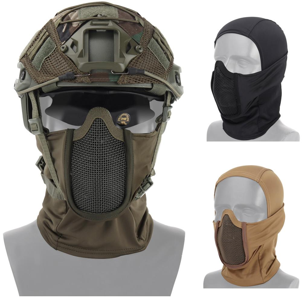 Tactical Airsoft Paintball Full Face Steel Mesh Mask Polyester Balaclava Hunting CS Mask Cycling Protective Helmet Liner Cap