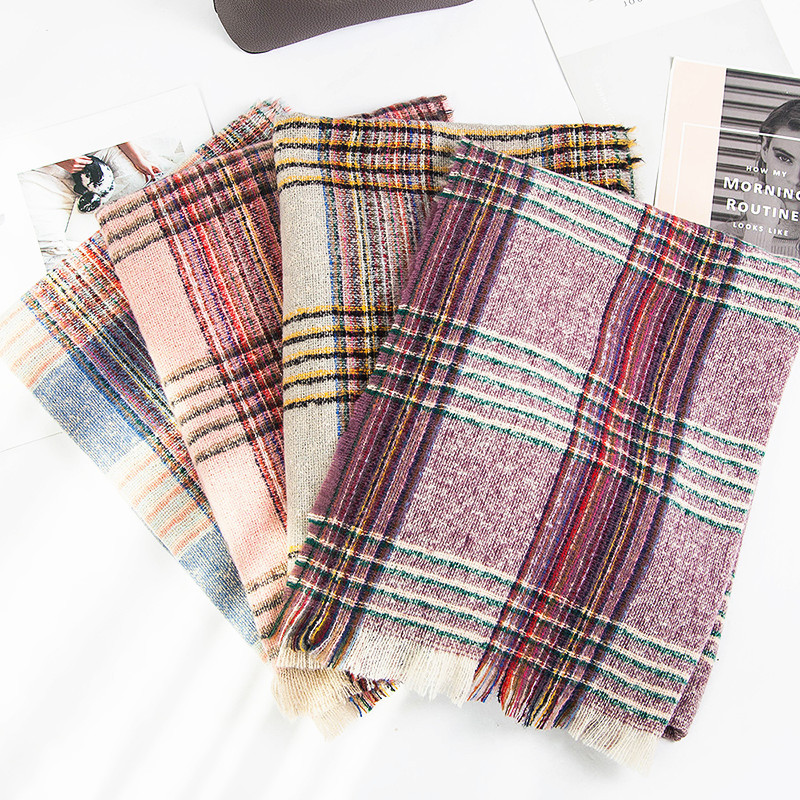 2019 Japanese Korean Autumn And Winter New Style Double-Sided Color Plaid Tassels Bristle Scarf Women's Pattern Scarf Shawl