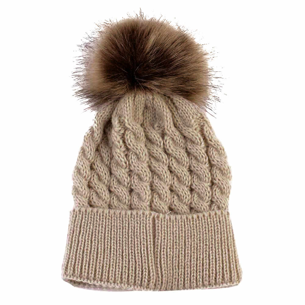 Newborn Hat Cute Winter Kids Baby Girls Boys Warm Hats Knitted Wool Hemming Hat Hairball Fur Ball Cap 0-36 Months Baby Hat
