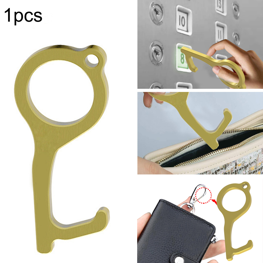 Non-Contact Elevator Buttons Key Handheld Brass Edc Keychain Tool Offering Noncontact Door Opener Hook Stylus Utlity Tool