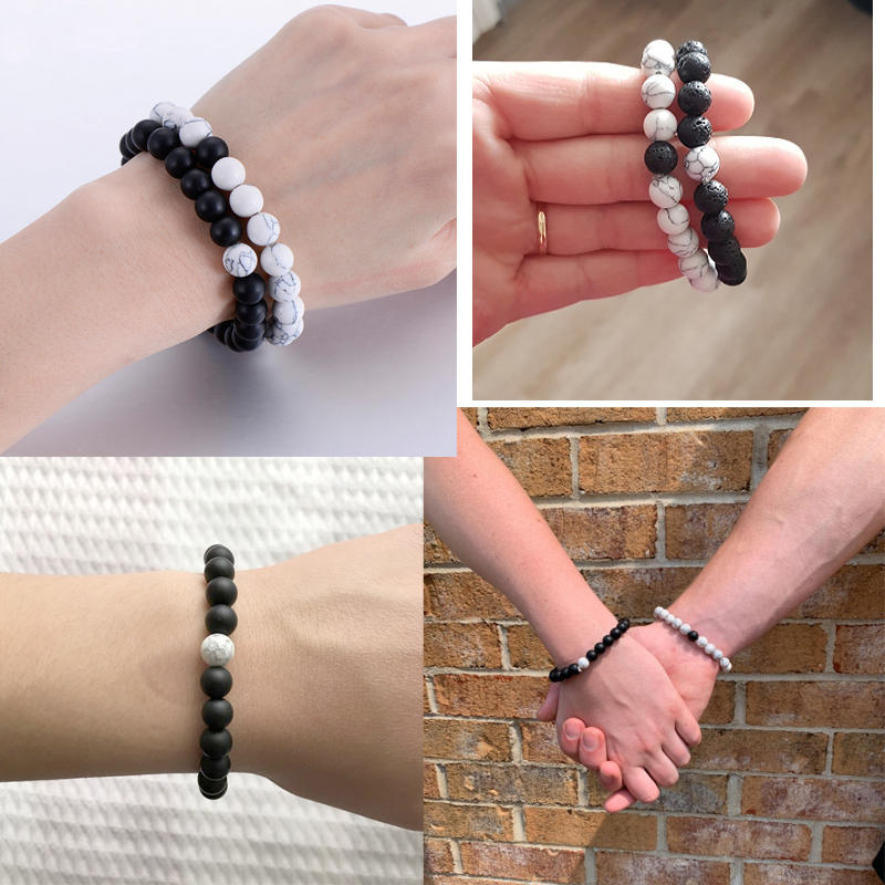 Distance Couple Bracelet Men Women 8mm Black Lava White Natural Stone Beads Strand Bracelets Bangles Friendship Jewelry Pulseras 5
