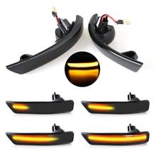 2pcs 동적 회전 신호등 LED 측면 날개 포드 포커스 2 3 Mk2 Mk3 Mondeo Mk4 용 백미러 표시 등 깜박임 램프
