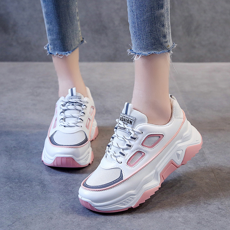 Damyuan Women's shoes 2019 New Summer White Mesh Women Sneakers Fashion Thick Bottom Womens Platform Sneakers Casual Shoes