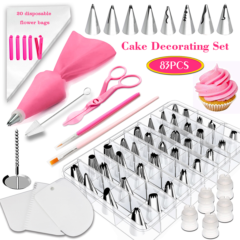 Transhome Pastry Nozzles/Converter Pastry Bag 38-83Pcs/Set Confectionery Nozzle Stainless Cream Baking Tools Decorating Tip Sets