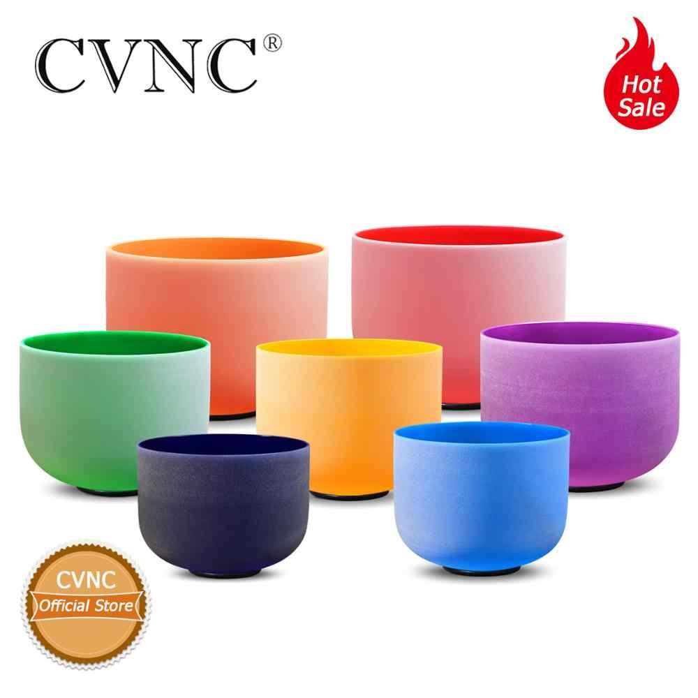"Cvnc 8 ""-12"" ajustado conjunto de 7 colorido fosco cristal de quartzo cantando tigela chakra conjunto"