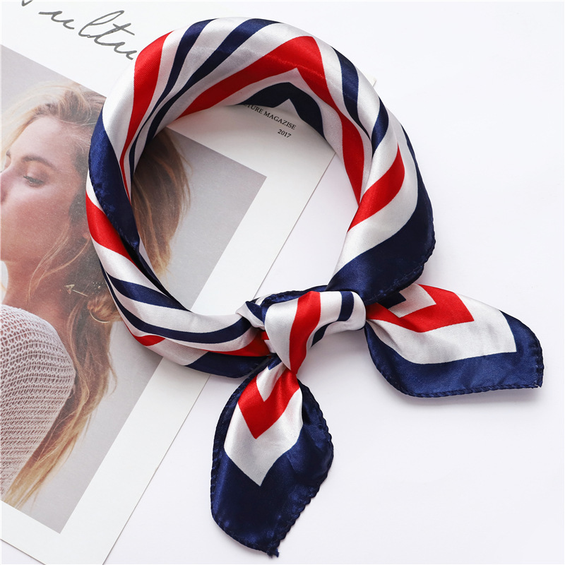 Women Square   Scarf   50*50CM All-match   Wraps   Elegant Floral striped Spring Summer Woman skinny Head Neck Hair Tie Band Neckerchief