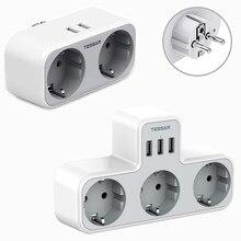 TESSAN EU Steckdose Power Streifen mit 2 AC Outlets 2 USB Ports 4000W 5V/2,4 A power Adapter Überlast Schutz für Home/Büro