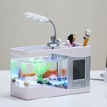 Turtle Tank oglądanie Aqua Office Indoor wielofunkcyjne akrylowe akwarium akwarium USB Mini akwarium ekologiczne małe rybki tanie i dobre opinie CN (pochodzenie) fish Z tworzywa sztucznego Plastic 1KGS White black