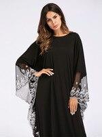 Fashion Muslim robe Abaya dress plus size Adult lace embroidered Robe Dress Muslim Turkish Dubai Abaya hijab dress