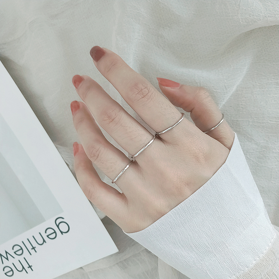 Ins Trend 925 Silver Concise Rings For Women Adjustable Niche Simple Aperture Opening Ring Retro Elegance Tide Jewelry