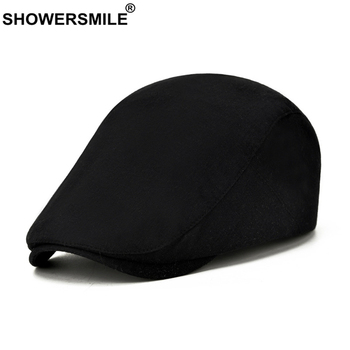 SHOWERSMILE Solid Black Spring Summer Flat Cap for Men Cotton British Style Casual Beret Retro Adjustable Mens Ivy Hats