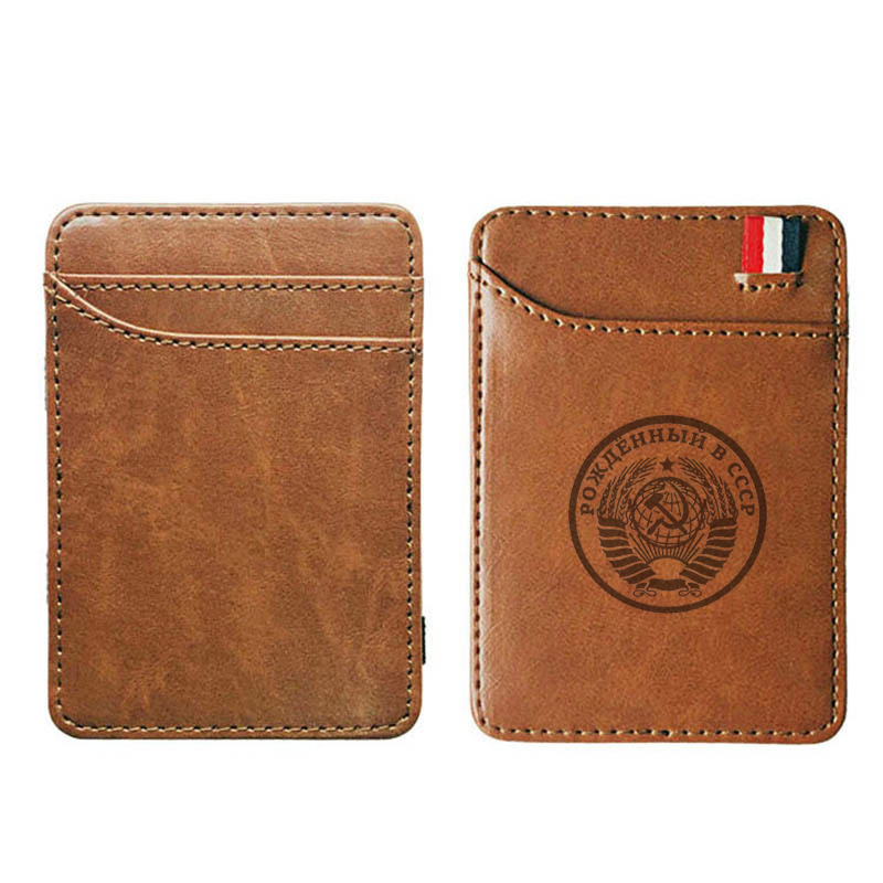 Classic Soviet Badges Sickle Hammer CCCP Leather Men Wallets  Slim Wallet For Credit Cards Bifold Clamps Carteira Short Portfel