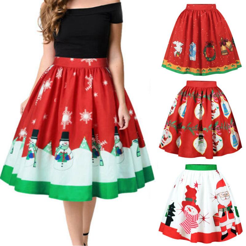 Womens High Waist Short Skirt Christmas Santa Claus Elk Deer Print Skirts Skater Flared Pleated Swing Skirt