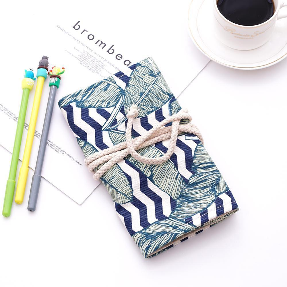 Simple and Portable 36/48 Holes <font><b>Big</b></font> Constellation <font><b>Pencil</b></font> <font><b>Case</b></font> <font><b>Canvas</b></font> Roll Pouch Pencilcase Sketch Brush pen <font><b>Pencil</b></font> Bag Tools image