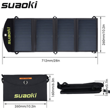 Suaoki Портативный 25 Вт складной водонепроницаемый Солнечная Панель зарядное устройство мобильный внешний аккумулятор для телефона батарея двойной USB порт открытый
